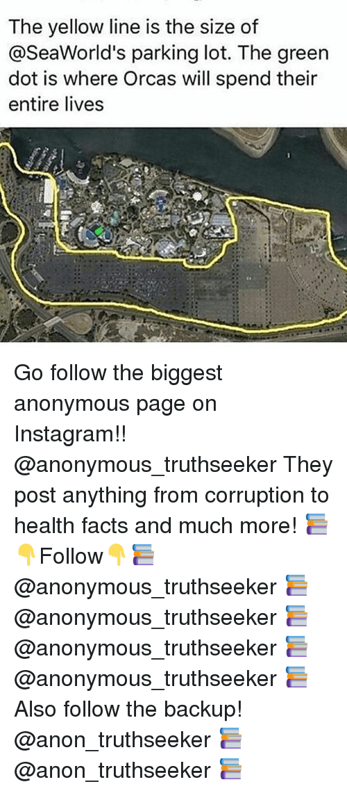 Facts, Instagram, and Memes: The yellow line is the size of  @SeaWorld's parking lot. The green  dot is where Orcas will spend their  entire lives Go follow the biggest anonymous page on Instagram!! @anonymous_truthseeker They post anything from corruption to health facts and much more! 📚👇Follow👇📚 @anonymous_truthseeker 📚 @anonymous_truthseeker 📚 @anonymous_truthseeker 📚 @anonymous_truthseeker 📚 Also follow the backup! @anon_truthseeker 📚 @anon_truthseeker 📚