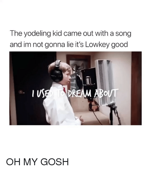 Good, Girl Memes, and Lowkey: The yodeling kid came out with a song  and im not gonna lie it's Lowkey good OH MY GOSH