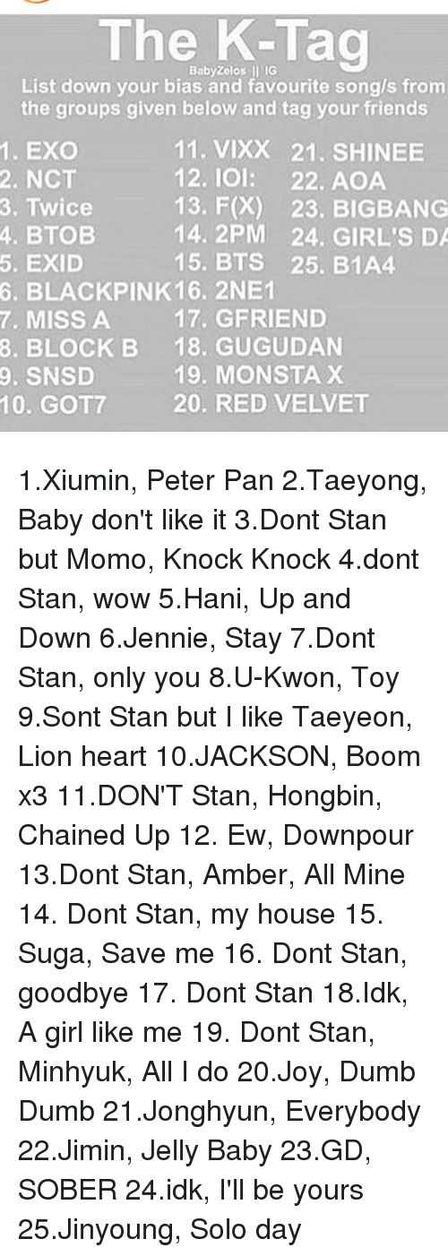 The Zolos Ll IG Baby List Down Your Bias and Favourite Songs From