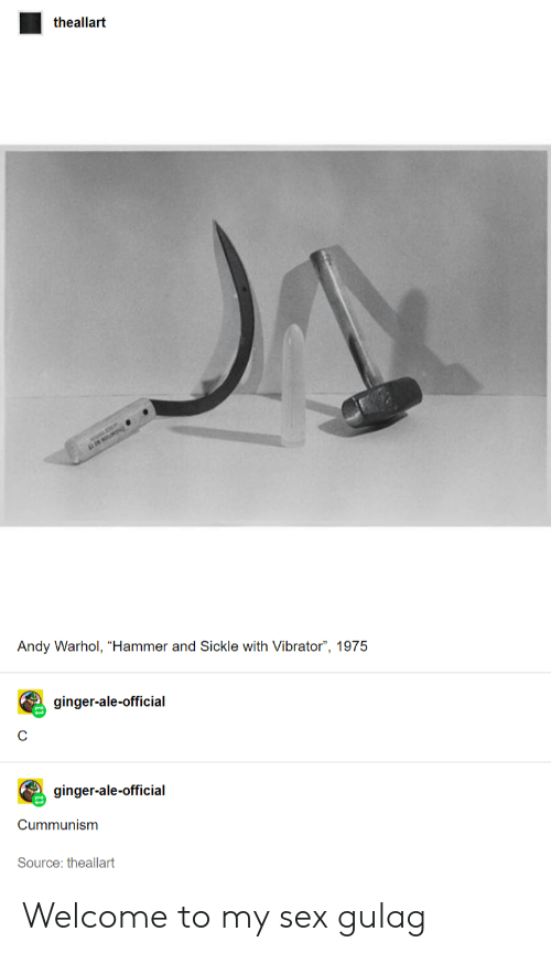 """Sex, Tumblr, and Andy Warhol: theallart  Andy Warhol, """"Hammer and Sickle with Vibrator"""", 1975  ginger-ale-official  ginger-ale-official  Cummunism  Source: theallart Welcome to my sex gulag"""