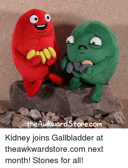 Memes, 🤖, and Gallbladder: theAwkward Store.com Kidney joins Gallbladder at theawkwardstore.com next month! Stones for all!