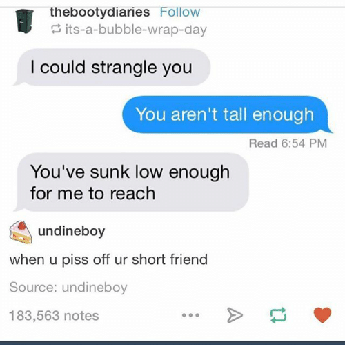 Ironic, Source, and Friend: thebootydiaries Follow  its-a-bubble-wrap-day  I could strangle you  You aren't tall enough  Read 6:54 PM  You've sunk low enough  for me to reach  undineboy  when u piss off ur short friend  Source: undineboy  183,563 notes