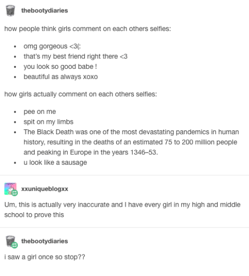 Thebootydiaries How People Think Girls Comment On Each Others