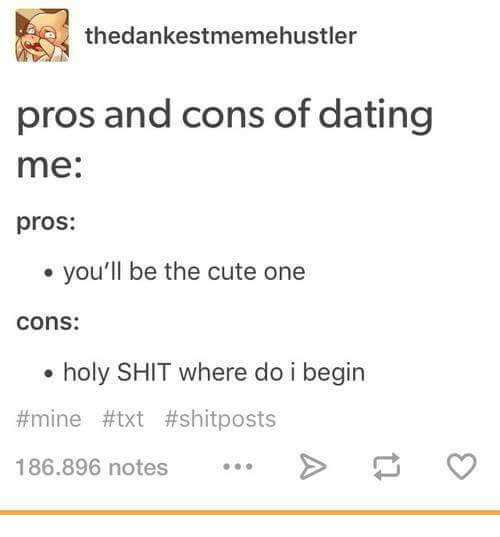 Pros And Cons Of Dating Me Meme