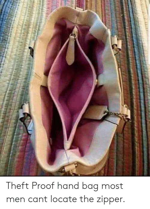 Proof, Can, and Men: Theft Proof hand bag  most men cant locate the zipper.