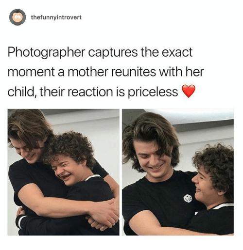 Dank, 🤖, and Her: thefunnyintrovert  Photographer captures the exact  moment a mother reunites with her  child, their reaction is priceless