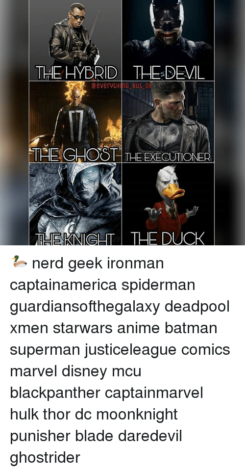 Anime, Batman, and Blade: THEHYBRIDTHE DEMIL  eeverytHNG BUC DC  THE EXECUTIONER  LIHEKNIGHT THE DUCK 🦆 nerd geek ironman captainamerica spiderman guardiansofthegalaxy deadpool xmen starwars anime batman superman justiceleague comics marvel disney mcu blackpanther captainmarvel hulk thor dc moonknight punisher blade daredevil ghostrider