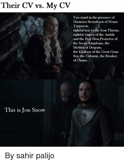 Ironic, Memes, and Queen: Their CV vs. My CV  You stand in the presence of  Daenerys Stormborn of House  Targaryen,  rightful heir to the Iron Throne,  rightful Queen of the Andals  and the First Men,Protector of  the Seven Kingdoms, the  Mother of Dragons,  the Khaleesi of the Great Grass  Sea, the Unburnt, the Breaker  of Chains.  This is Jon Snow By sahir palijo
