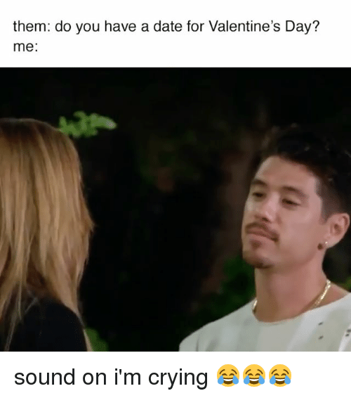Relatable, Valentine, and Valentine Day: them: do you have a date for Valentine's Day?  me sound on i'm crying 😂😂😂