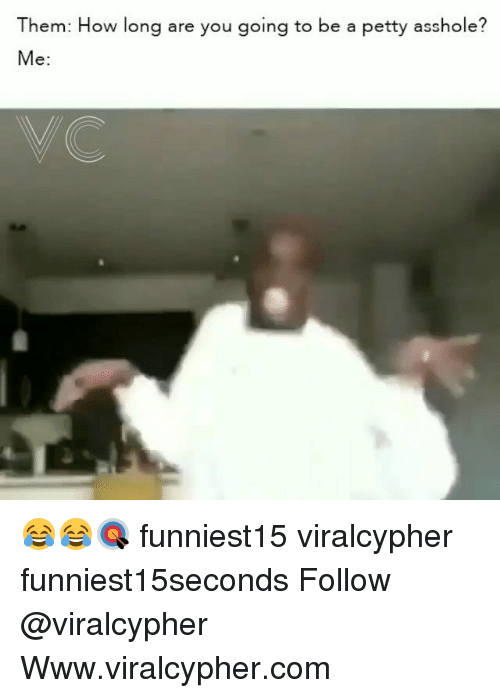 Funny, Petty, and Asshole: Them: How long are you going to be a petty asshole?  Me: 😂😂🎯 funniest15 viralcypher funniest15seconds Follow @viralcypher Www.viralcypher.com
