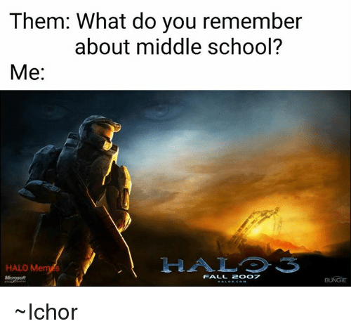 Fall, Halo, and School: Them: What do you remember  about middle school?  Me  HALO Me  FALL 2OO7  BUNGE ~Ichor