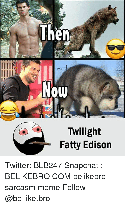 Be Like, Meme, and Memes: Then  Now  Twilight  Fatty Edison Twitter: BLB247 Snapchat : BELIKEBRO.COM belikebro sarcasm meme Follow @be.like.bro