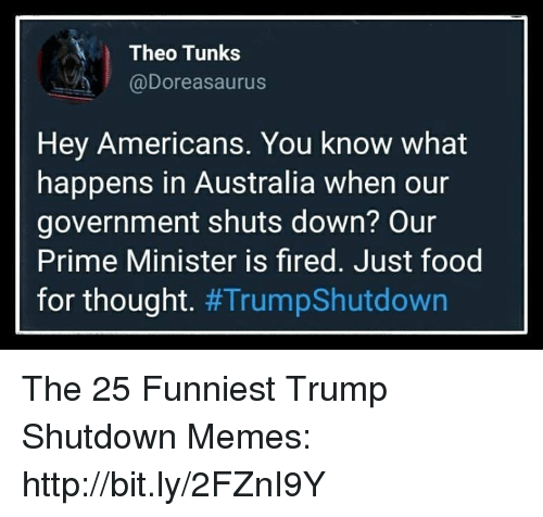 Food, Memes, and Australia: Theo Tunks  @Doreasaurus  Hey Americans. You know what  happens in Australia when our  government shuts down? Our  Prime Minister is fired. Just food  for thought. The 25 Funniest Trump Shutdown Memes: http://bit.ly/2FZnI9Y