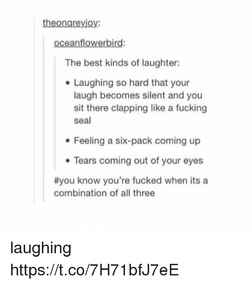Fucking, Memes, and Best: theongreyjoy:  oceanflowerbird:  The best kinds of laughter:  . Laughing so hard that your  laugh becomes silent and you  sit there clapping like a fucking  seal  e Feeling a six-pack coming up  Tears coming out of your eyes  #you know you're fucked when its a  combination of all three laughing https://t.co/7H71bfJ7eE