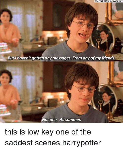 Friends, Low Key, and Memes: ThePerksOfBeingaWeasley  But I haven't gotten any messages. From any of my friends.  Not one.  All summer. this is low key one of the saddest scenes harrypotter