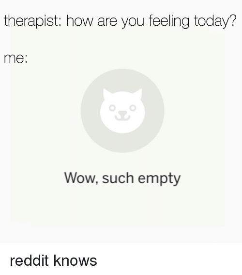 therapist how are you feeling today me wow such empty reddit meme