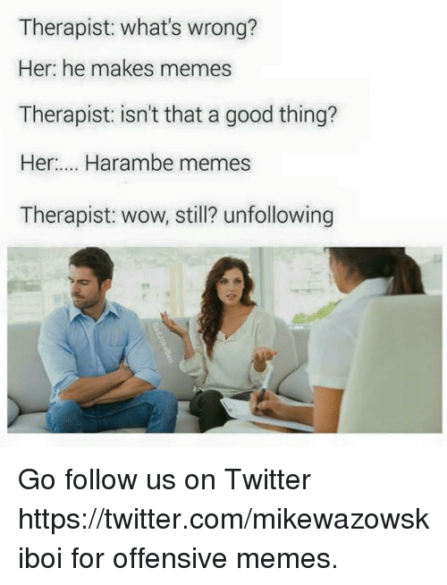 Dank, Meme, and Memes: Therapist: what's wrong?  Her: he makes memes  Therapist: isn't that a good thing?  Her Harambe memes  Therapist: wow, still? unfollowing Go follow us on Twitter https://twitter.com/mikewazowskiboi for offensive memes.