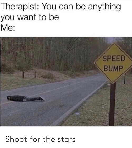 Stars, Speed, and Can: Therapist: You can be anything  you want to be  Me:  SPEED  BUMP Shoot for the stars