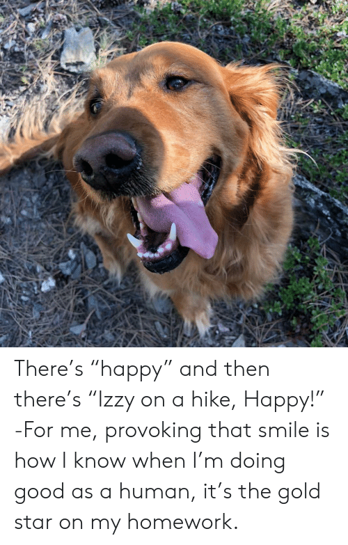 """Good, Happy, and Smile: There's """"happy"""" and then there's """"Izzy on a hike, Happy!"""" -For me, provoking that smile is how I know when I'm doing good as a human, it's the gold star on my homework."""