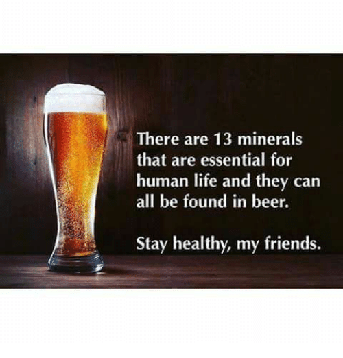 Beer, Friends, and Life: There are 13 minerals that are essential for human