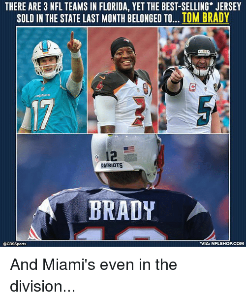 Memes, Nfl, and Patriotic: THERE ARE 3 NFL TEAMS IN FLORIDA, YET THE BEST-SELLING JERSEY  SOLD IN THE STATE LAST MONTH BELONGED TO... TOM BRADY  12  PATRIOTS  BRADY  @CBSSports  VIA: NFLSHOP.COM And Miami's even in the division...