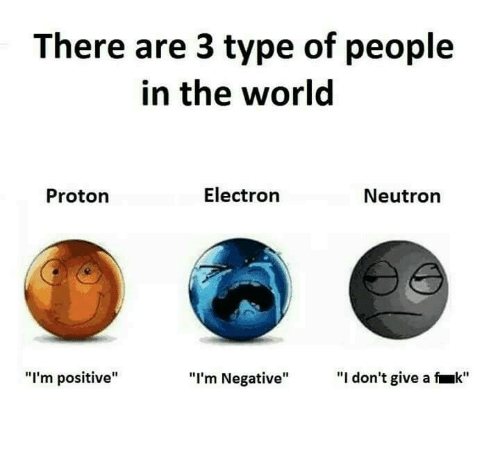 "Memes, World, and 🤖: There are 3 type of people  in the world  Electron  Neutron  Proton  ""I'm positive""  ""I don't give a k""  ""I'm Negative"""