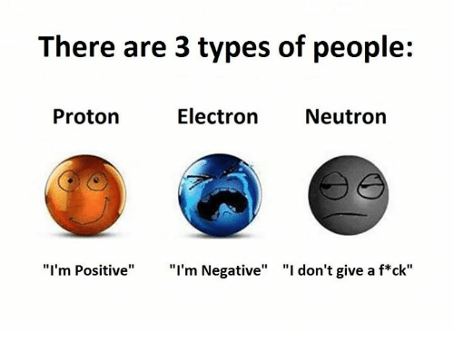 "Ares, Ims, and Proton: There are 3 types of people:  Electron Neutron  Proton  ""I'm Positive"" ""I'm Negative"" ""I don't give a f ck"""