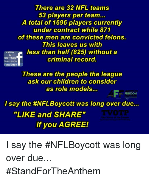 "Children, Facebook, and Memes: There are 32 NFL teams  53 players per team...  A total of 1696 players currently  under contract while 871  of these men are convicted felons  This leaves us with  NATION  IN  DISTRESS  like us on  facebook  criminal record.  These are the people the league  ask our children to consider  as role models..  I say the #NFLBoycott was long over due  ""LIKE and SHARE""  If you AGREE! I say the #NFLBoycott was long over due... #StandForTheAnthem"
