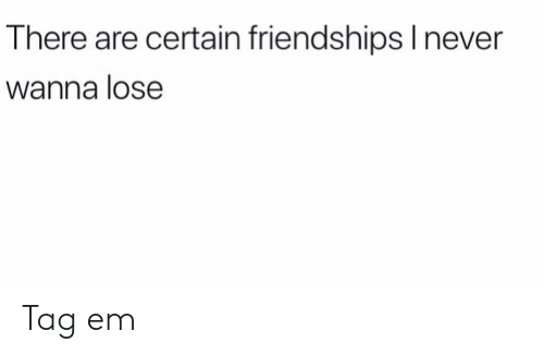 Funny, Lose, and Wanna: There are certain friendshipslnever  Wanna lose Tag em