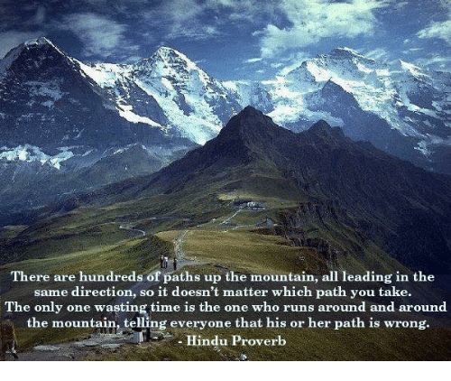 Memes, Time, and Only One: There are hundreds of paths up the mountain, all leading in the  same direction, so it doesn't matter which path you take.  The only one wasting time is the one who runs around and around  the mountain, telling everyone that his or her path is wrong.  Hindu Proverb