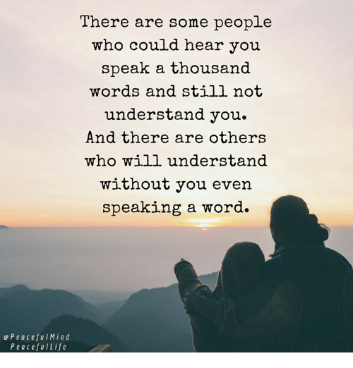 Memes, Word, and Mind: There are some people  who could hear you  speak a thousand  words and still not  understand you.  And there are others  who will understand  without you even  speaking a word.  Peaceful Mind  P e a cefu ILife