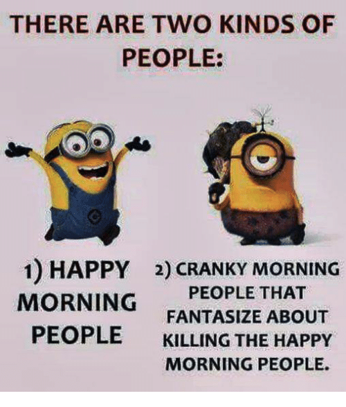 there are two kinds of people 1 happy 2 cranky 13110009 ✅ 25 best memes about happy morning happy morning memes