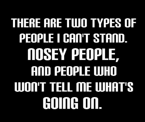 There Are Two Types Of People I Can T Stand Nosey People And People Who Won T Tell Me What S Going On Meme On Me Me