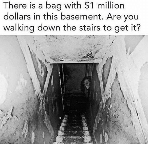 Dank, 🤖, and Down: There is a bag with $1 million  dollars in this basement. Are you  walking down the stairs to get it?