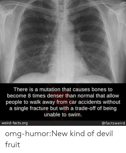 Bones, Facts, and Omg: There is a mutation that causes bones to  become 8 times denser than normal that allow  people to walk away from car accidents without  a single fracture but with a trade-off of being  unable to swim.  weird-facts.org  @factsweird omg-humor:New kind of devil fruit