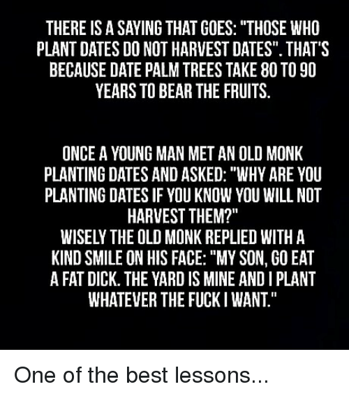 "Dicks, Memes, and Bear: THERE IS A SAYING THAT GOES: ""THOSE WHO  PLANT DATES DO NOT HARVEST DATES"". THAT'S  BECAUSE DATE PALM TREES TAKE 80 TO 90  YEARS TO BEAR THE FRUITS.  ONCE A YOUNG MAN MET AN OLD MONK  PLANTING DATES AND ASKED: ""WHY ARE YOU  PLANTING DATES IF YOU KNOW YOU WILL NOT  HARVEST THEM?  WISELY THE OLD MONK REPLIED WITH A  KIND SMILE ON HIS FACE: ""MY SON, GO EAT  A FAT DICK. THE YARD IS MINE AND I PLANT  WHATEVER THE FUCKI WANT."" One of the best lessons..."
