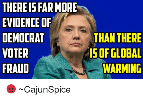 THERE IS FAR MORE EVIDENCE OF DEMOCRAT VOTER FRAUD THAN THERE IS OF GLOBAL  WARMING 😡 ~CajunSpice   Global Warming Meme on ME.ME