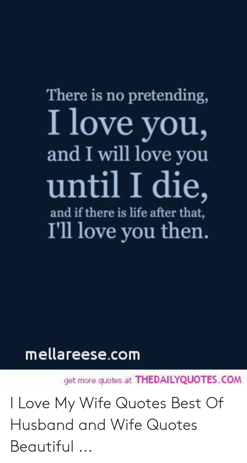 Beautiful, Life, and Love: There is no pretending,  I love you,  and I will love you  until I die,  and if there is life after that,  I'll love you then  mellareese.com  get more quotes at THEDAILYQUOTES.COM I Love My Wife Quotes Best Of Husband and Wife Quotes Beautiful ...