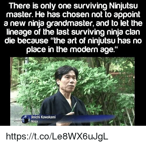 "Memes, Ninja, and Only One: There is only one surviving Ninjutsu  master. He has chosen not to appoint  a new ninja grandmaster, and to let the  lineage of the last surviving ninja clan  die because ""the art of ninjutsu has no  place in the modern age.""  Jinichi Kawakami  Ninja https://t.co/Le8WX6uJgL"
