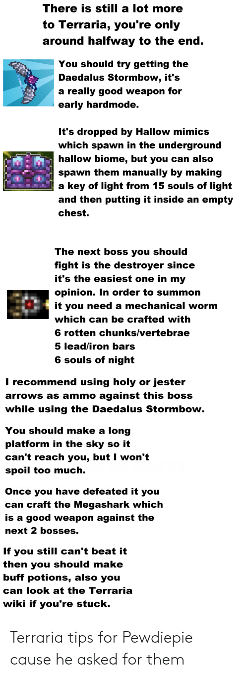 Too Much, Good, and Wiki: There is still a lot more  to Terraria, you're only  around halfway to the end.  You should try getting the  Daedalus Stormbow, it's  a really good weapon for  early hardmode.  It's dropped by Hallow mimics  which spawn in the underground  hallow biome, but you can also  spawn them manually by making  a key of light from 15 souls of light  and then putting it inside an empty  chest.  The next boss you should  fight is the destroyer since  it's the easiest one in my  opinion. In order to summon  it you need a mechanical worm  which can be crafted with  6 rotten chunks/vertebrae  5 lead/iron bars  6 souls of night  I recommend using holy or jester  arrows as ammo against this boss  while using the Daedalus Stormbow.  You should make a long  platform in the sky so it  can't reach you, but I won't  spoil too much.  Once you have defeated it you  can craft the Megashark which  is a good weapon against the  next 2 bosses.  If you still can't beat it  then you should make  buff potions, also you  can look at the Terraria  wiki if you're stuck. Terraria tips for Pewdiepie cause he asked for them