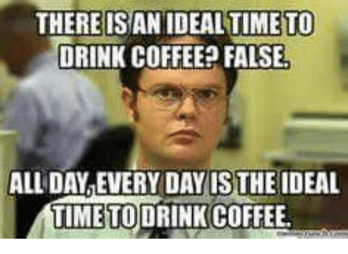 Drinking, Memes, and Coffee: THERE ISAN IDEALTIMETO  DRINK COFFEE FALSE!  ALL DAY EVERY DAY ISTHE IDEAL  TIME TODRINK COFFEE