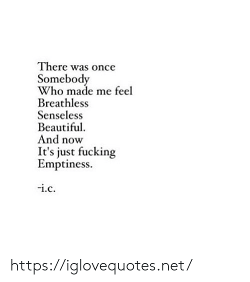 Beautiful, Fucking, and Net: There was once  Somebody  Who made me feel  Breathless  Senseless  Beautiful  And now  It's just fucking  Emptiness  .c https://iglovequotes.net/