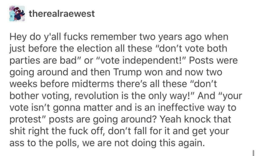 """Bad, Fall, and Protest: therealraewest  Hey do y'all fucks remember two years ago when  just before the election all these """"don't vote both  parties are bad"""" or """"vote independent!"""" Posts were  going around and then Trump won and now two  weeks before midterms there's all these """"don't  bother voting, revolution is the only way!"""" And """"your  vote isn't gonna matter and is an ineffective way to  protest"""" posts are going around? Yeah knock that  shit right the fuck off, don't fall for it and get your  ass to the polls, we are not doing this again."""
