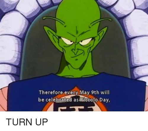 Piccolo, Turn Up, and Dank Memes: Therefore every May 9th will  be celebrated as Piccolo Day, TURN UP