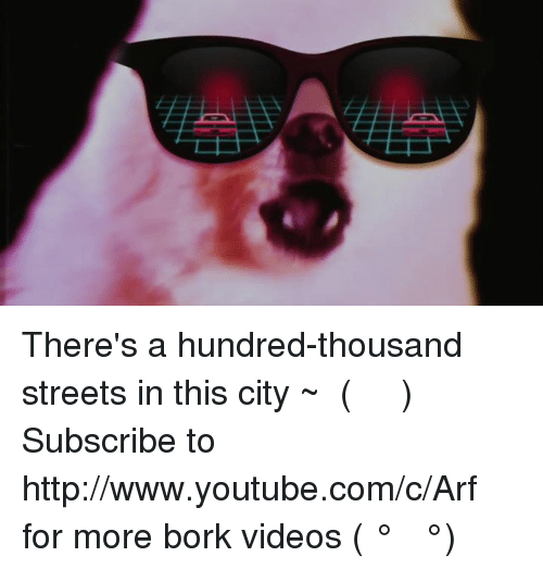 Memes, Streets, and Videos: There's a hundred-thousand streets in this city ~ ໒( ̿ ᴥ ̿ )७  Subscribe to http://www.youtube.com/c/Arf for more bork videos ( ͡° ͜ʖ ͡°)