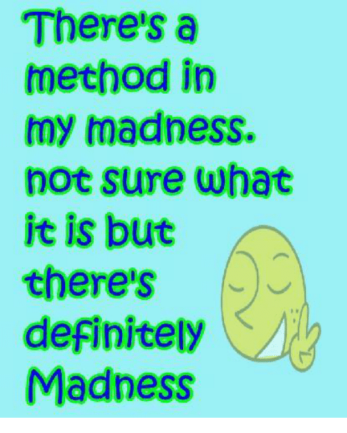 Theres A Method In My Madness Not Sure What It Is But Theres