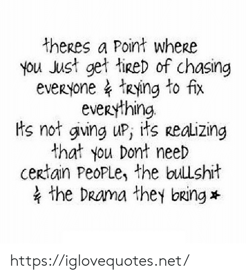 Bullshit, Drama, and Net: theres a Point wheRe  you Just get tireD of chasing  eveRyone tRying to fix  eveRything  Hs not giving uP, its Reaizing  that you Dont neeD  certain PeoPLe, the bullshit  the DRama they bring https://iglovequotes.net/