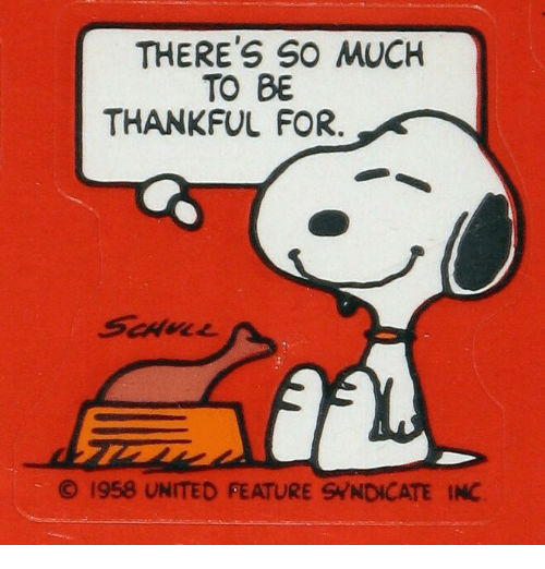 Theres So Much To Be Thankful For 1958 United Feature Syndicate Inc