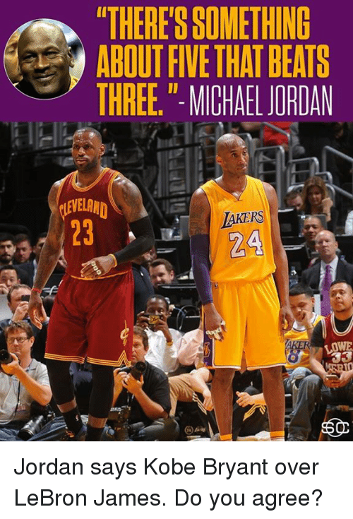 "Kobe Bryant, LeBron James, and Memes: ""THERE'S SOMETHING  ABOUT FIVE THAT BEATS  THREE,"" MICHALJORDAN  VEL  2324  LOWE Jordan says Kobe Bryant over LeBron James.  Do you agree?"