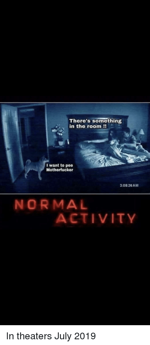 July, Normal, and The Room: There's something  in the room !!  I want to pee  Motherfucker  3:08:26AM  NORMAL  ACTIVITY